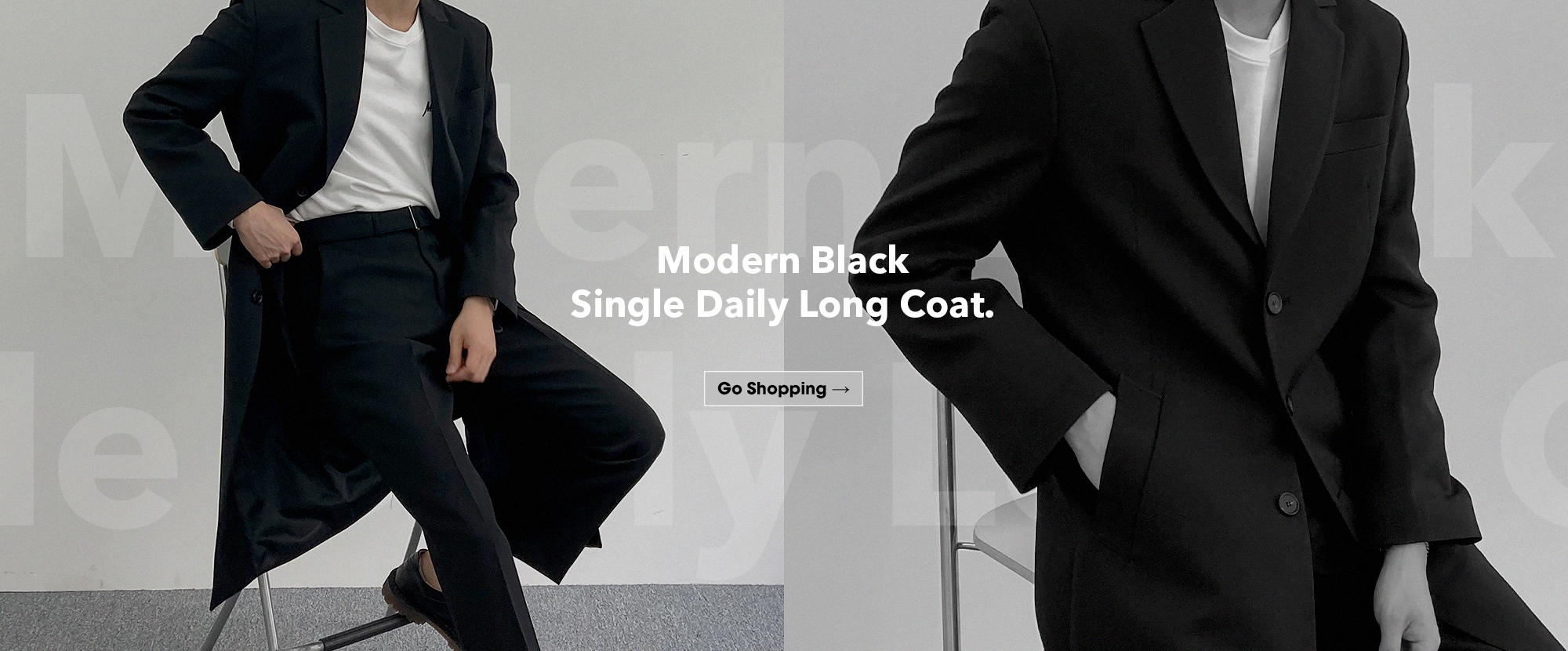 Modern Black Long Coat.