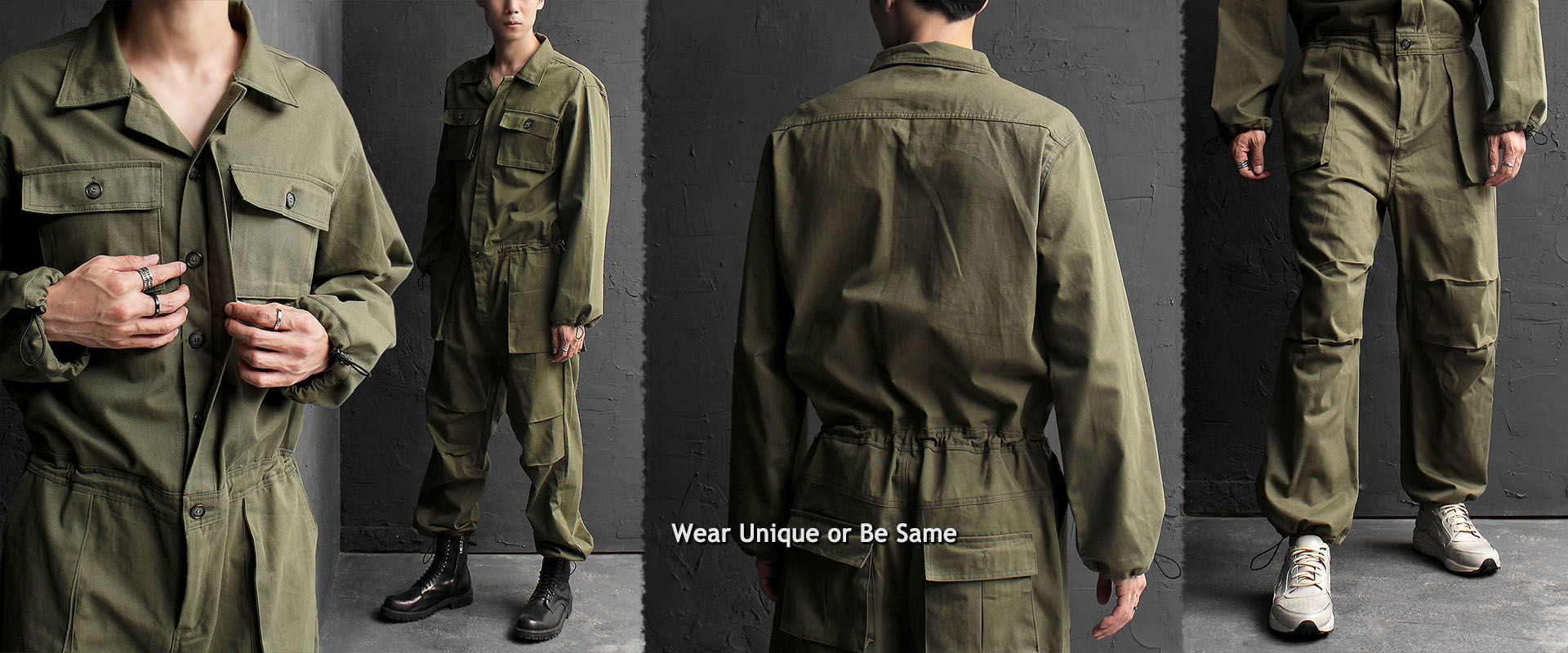 Loose Fit Overall One Piece Military Army Jumpsuit 621