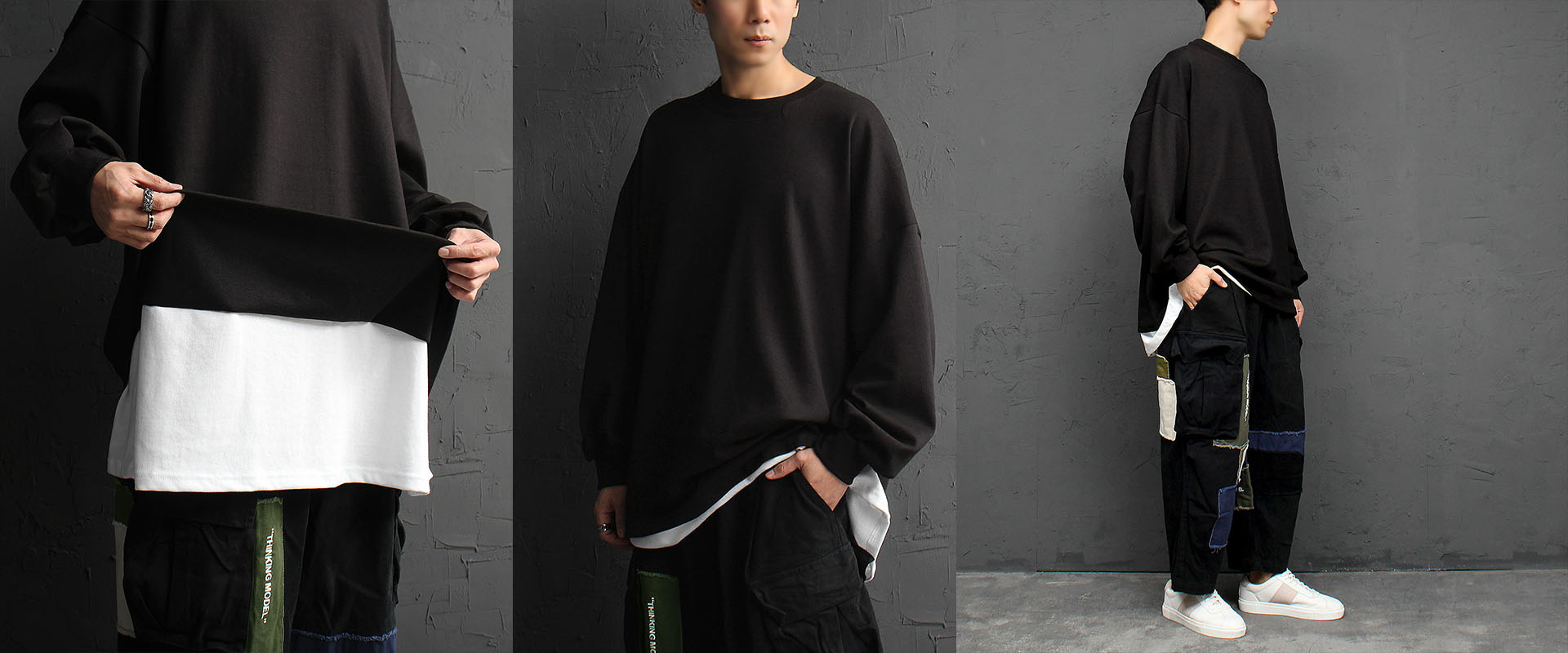 Oversized Loose Fit Layered Hem Long Sleeve Tee 841