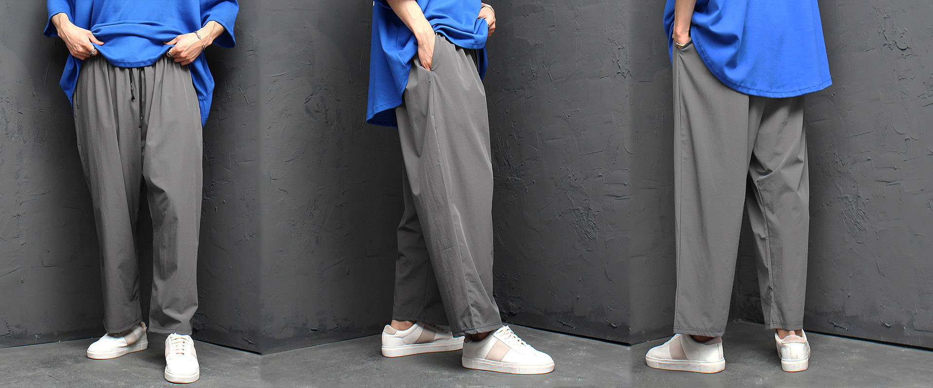 Iced Wide Elastic Band Baggy Pants 1033