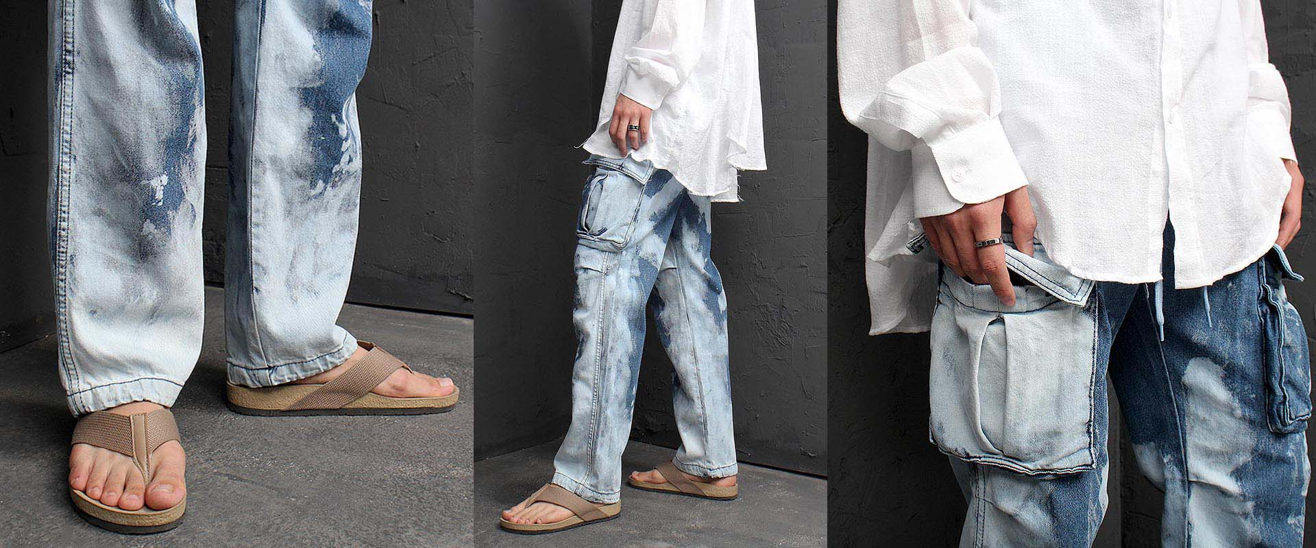 Vintage Bleached Wide Denim Cargo Pants 1190
