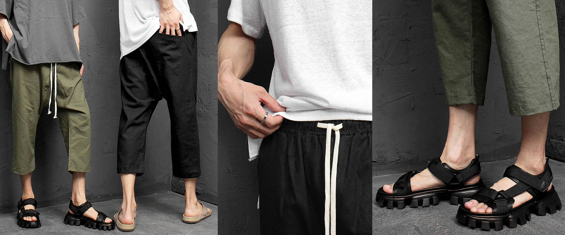 Drop Crotch 4/5 Baggy Color Linen Sweatpants 075