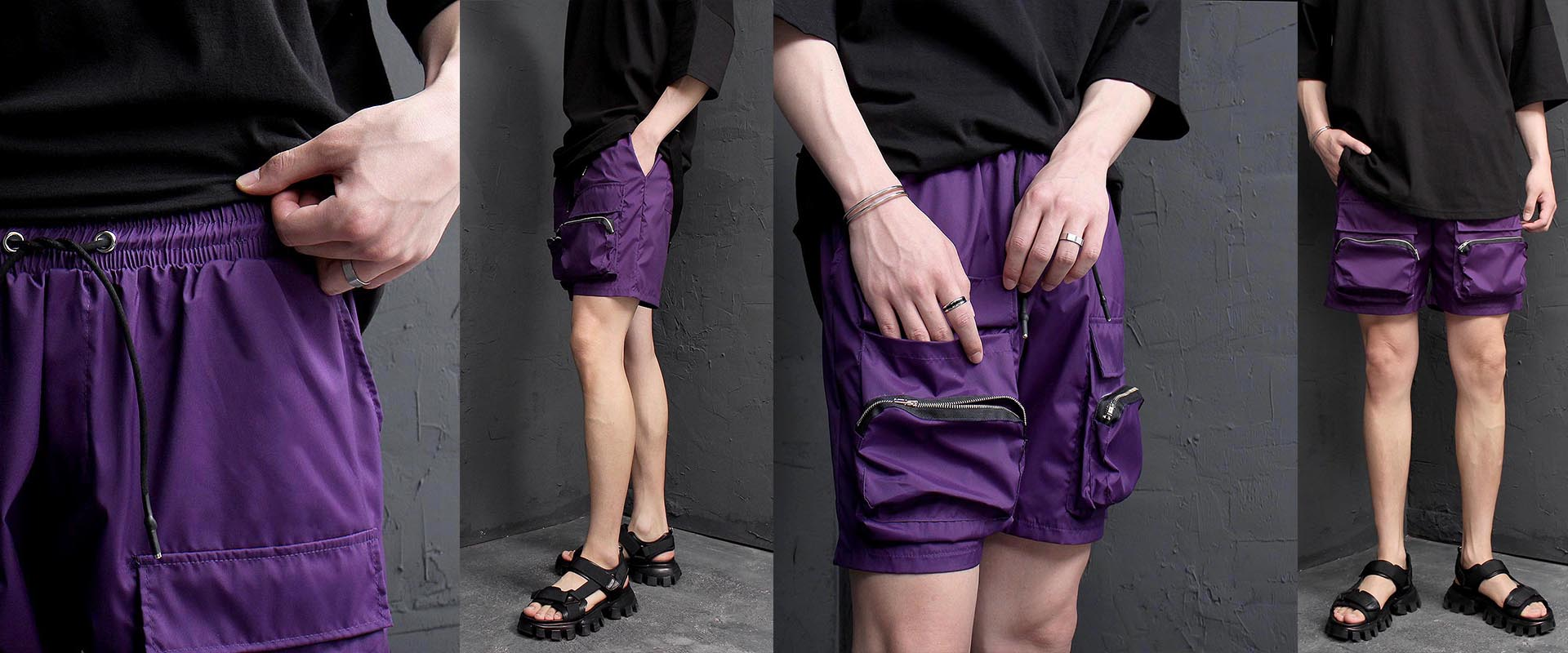 Zipper Cargo Pocket Short Sweatpants 1235