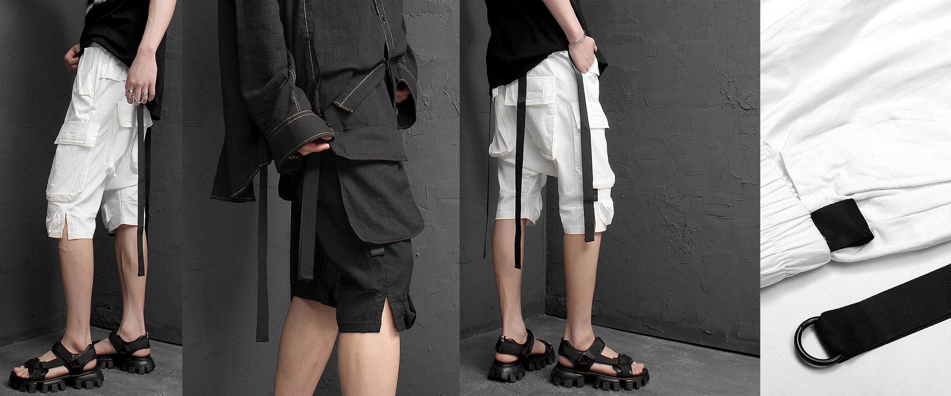 Cargo Pocket Strap 3/4 Pants 1248