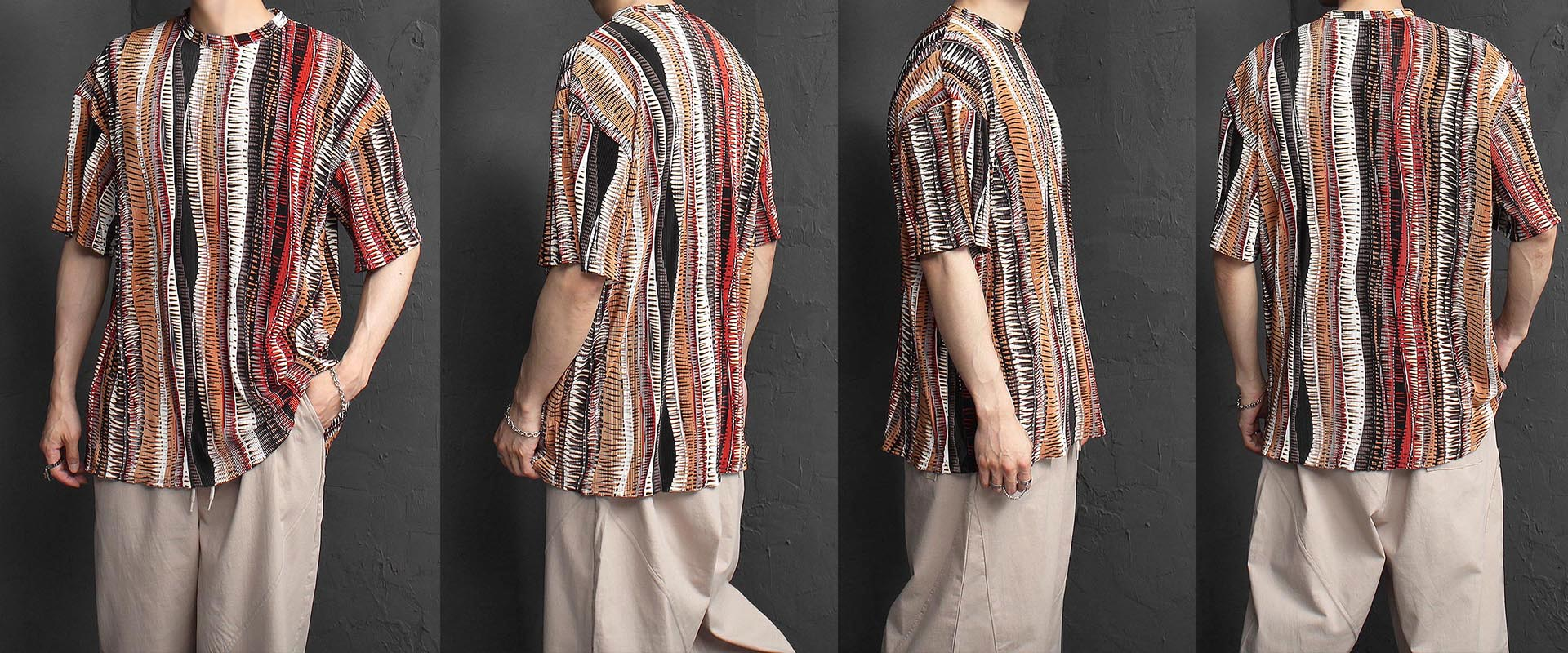 Ice Indian Wrinkle Pleats Short Sleeve Tee 1277