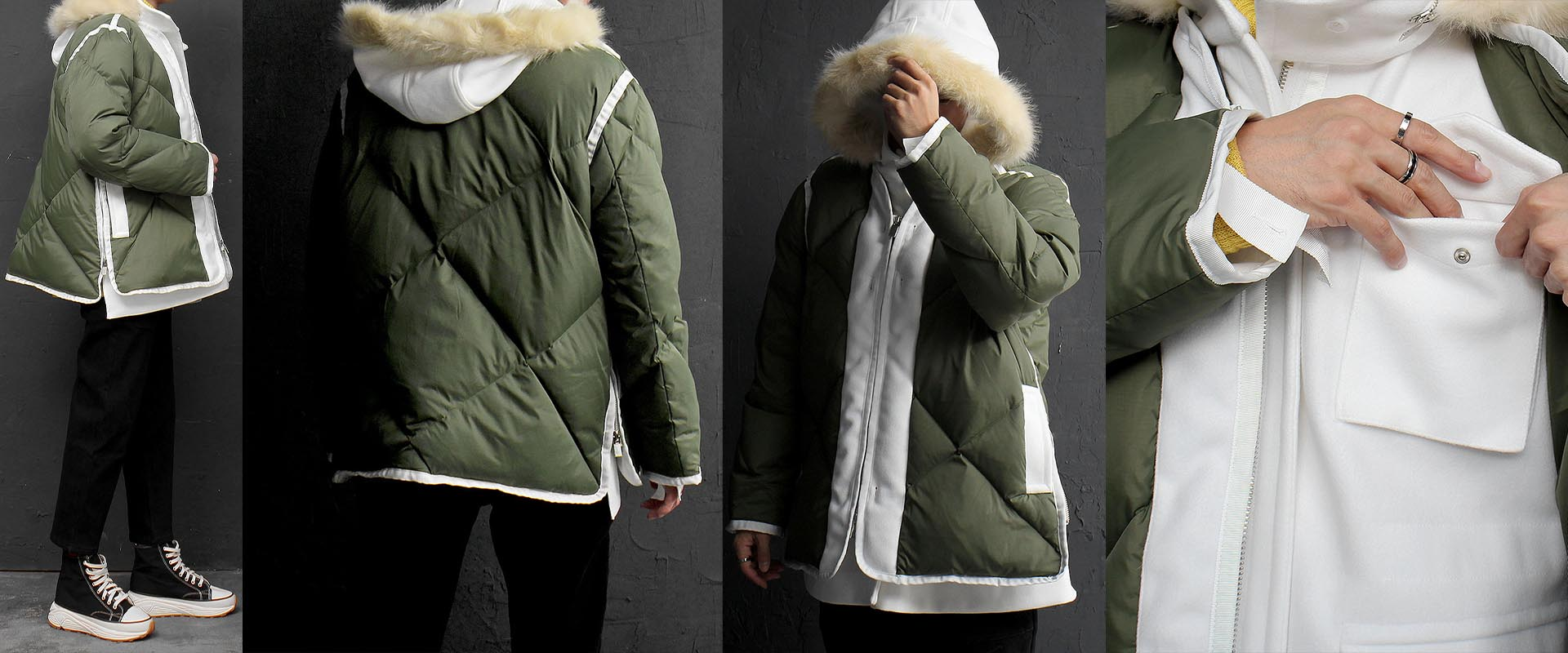 Double Layered Jacket Duck Down Zip Up Puffa Jacket 774